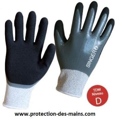 Gants anti coupure double enduction nitrile étanche PHD557  (la paire)
