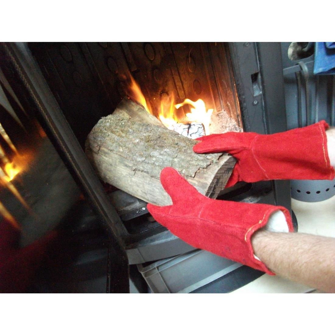 Gants cuir doubl anti chaleur et flamme couleur rouge for Feuille de mica pour poele a bois